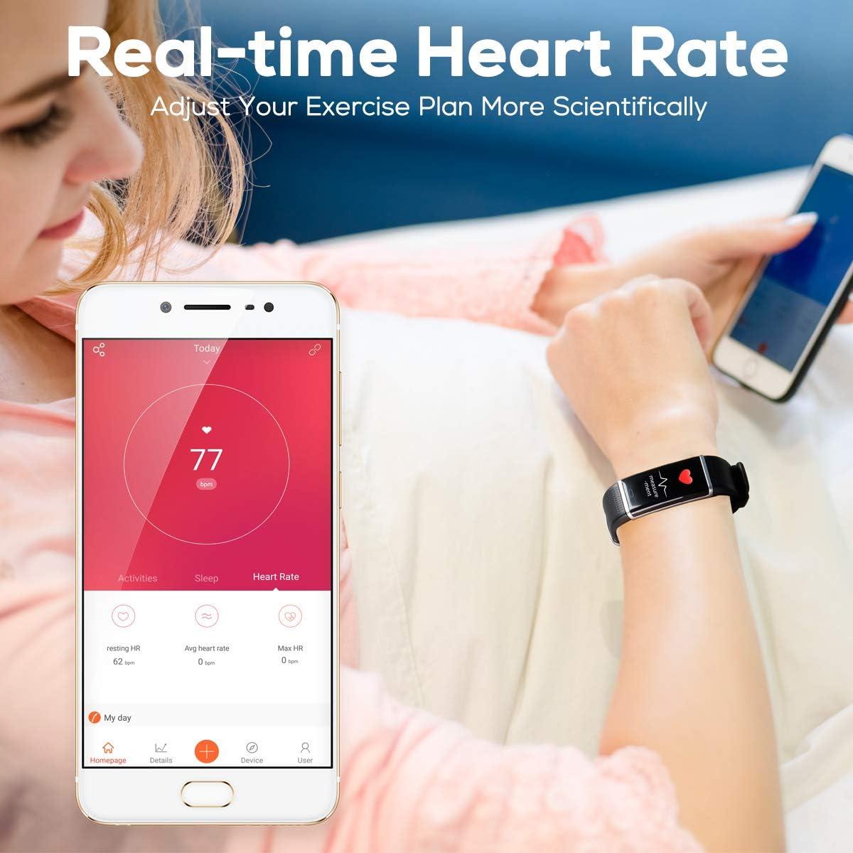 CHEREEKI Montre Connect/ée Podometre Bracelet 14 dexercice Mode Connect/é IP68 Imperm/éable Tracker dactivit/é Moniteur de fr/équence Cardiaque pour iPhone Samsung Android iOS Smartphone