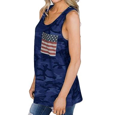 08b9b9ca1d850 Fainosmny Womens Tops Loose Tank Tops American Flag Vest Camouflage Gilet  Shirts Fashion Sleeveless Blouse Summer