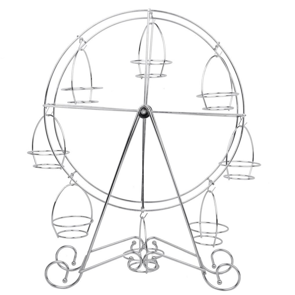 Tinksky Stainless Steel 8-Cup Round Rotating Ferris Wheel Cupcake Stand