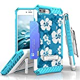iPhone 8 Plus, iPhone 7 Plus Case, Trishield Durable Rugged Phone Cover with Detachable Lanyard Loop Belt Clip Holster and Built in Kickstand Card Slot - Hawaiian Blue Blossom