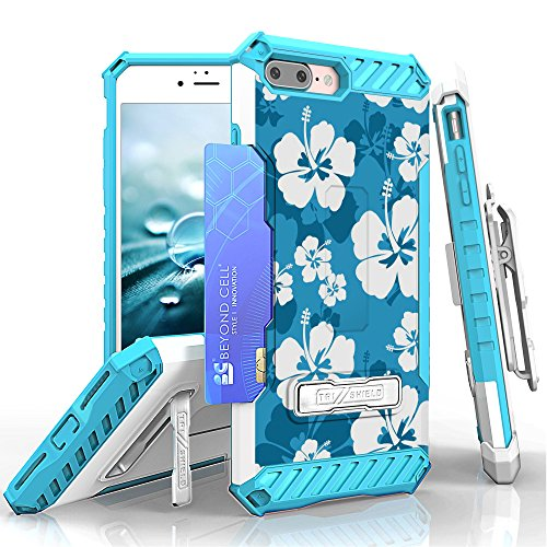 iPhone 8 Plus, iPhone 7 Plus Case, Trishield Durable Rugged Phone Cover with Detachable Lanyard Loop Belt Clip Holster and Built in Kickstand Card Slot - Hawaiian Blue Blossom by Beyond Cell