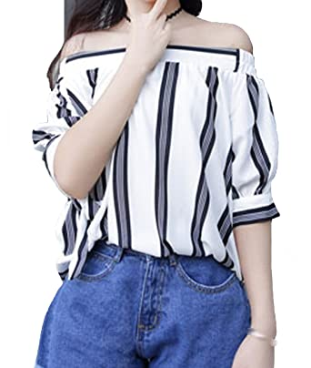 a4a6cc8aed4bbb Image Unavailable. Image not available for. Color  KJY Women s Striped Off  Shoulder Tie Cuff Blouse ...