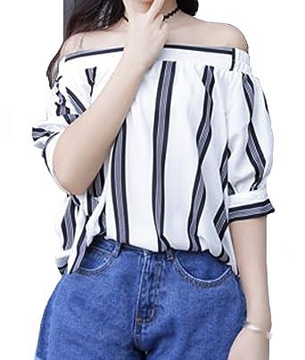 4e5c5e28fcbc9 Image Unavailable. Image not available for. Color  KJY Women s Striped Off  Shoulder Tie Cuff Blouse ...