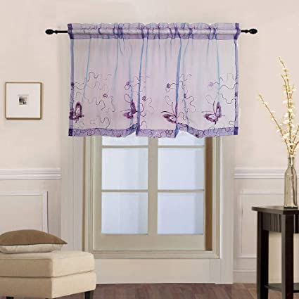 WPKIRA Kitchen Sheer Valance Purple Voile Curtains for Small Window  Embroidery Butterfly Window Curtain Tier Rod Pocket Voile Short Curtain  (Purple, 1 ...