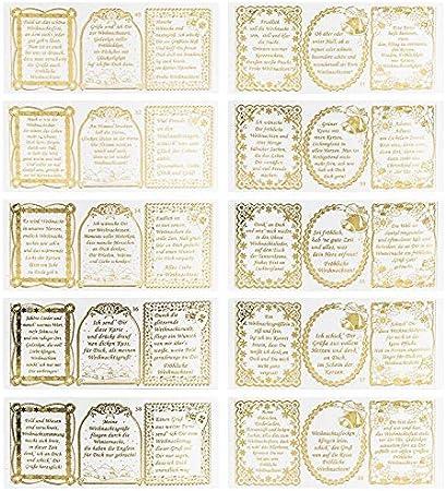 Scrapbooking Karten /& Geschenke zu Geburtstag Goldene Aufkleber zum Basteln /& Dekorieren Rente /& mehr Gravur-Sticker transparent//gold 10 Bogen /à 10 x 23 cm Nostalgie Weihnachten
