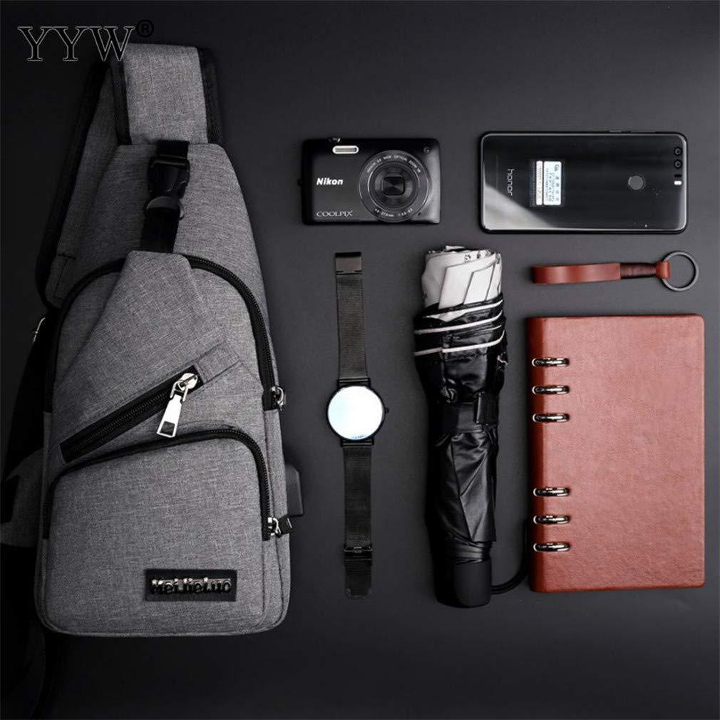 Men Canvas Shoulder Sling Bag USB Charging Male Leisure Travel Bag Messenger Bag Chest Harness Chest Pocket reddish-brown