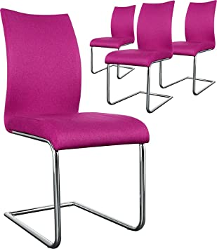 Design Coloris De En Lot 4 Chaises FushiaCuisine Tissu n0NvmOy8w