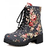 Carolbar Women's Fashion Comfort Floral Print Demin Fabric Lace up Mid Heel Martin Boots
