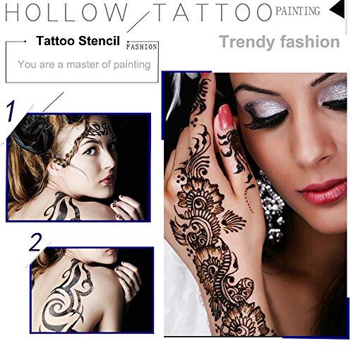 4 Sheets Henna Tattoo Stencil Self Adhesive Beautiful Body Art Hands ...