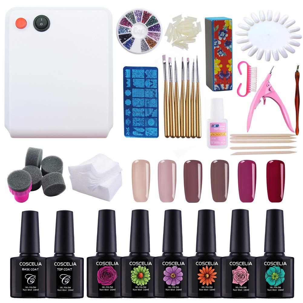 Coscelia 36W UV LED Gel Nail Polish Nail Art Soak Off Varnish Manicure Gel Nail Starter Kit 10ml