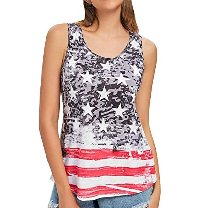 003cc672aaa27a Amazon.com : Franterd Women Casual American Flag Patriotic Stripes Star  Printed Sleeveless T-Shirt Vest Tank Tops Blouse for 4th of July : Sports &  Outdoors