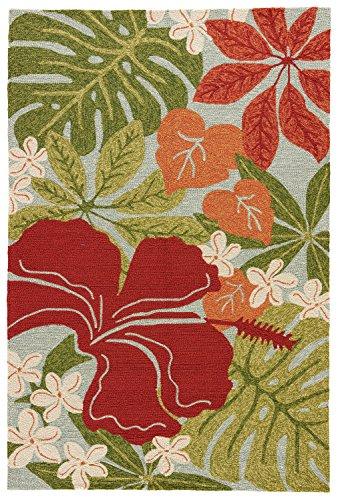 [Jaipur Living Luau Indoor/ Outdoor Floral & Leaves Green Area Rug (2' X 3')] (Leaves Hooked Rug)