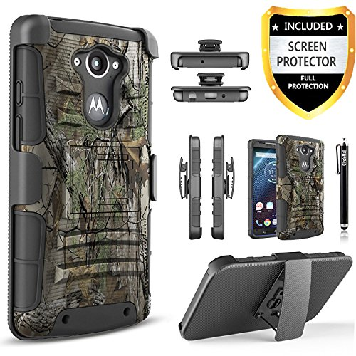 Droid Turbo Case, Circlemalls Dual Layers [Combo Holster] And Built-In Kickstand Bundled With [Premium Screen Protector] Hybird Shockproof And Touch Screen Pen For Motorola Droid Turbo (Camo)