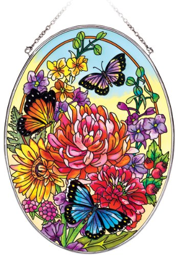 Amia 5643 Oval Suncatcher with Butterfly Design, Hand Painted Glass, 6-1/2-Inch by 9-Inch