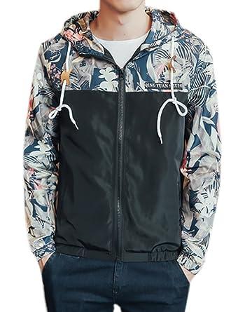 COLINNA Men's Fashion Lightweight Floral Print Long Sleeve Hoodie