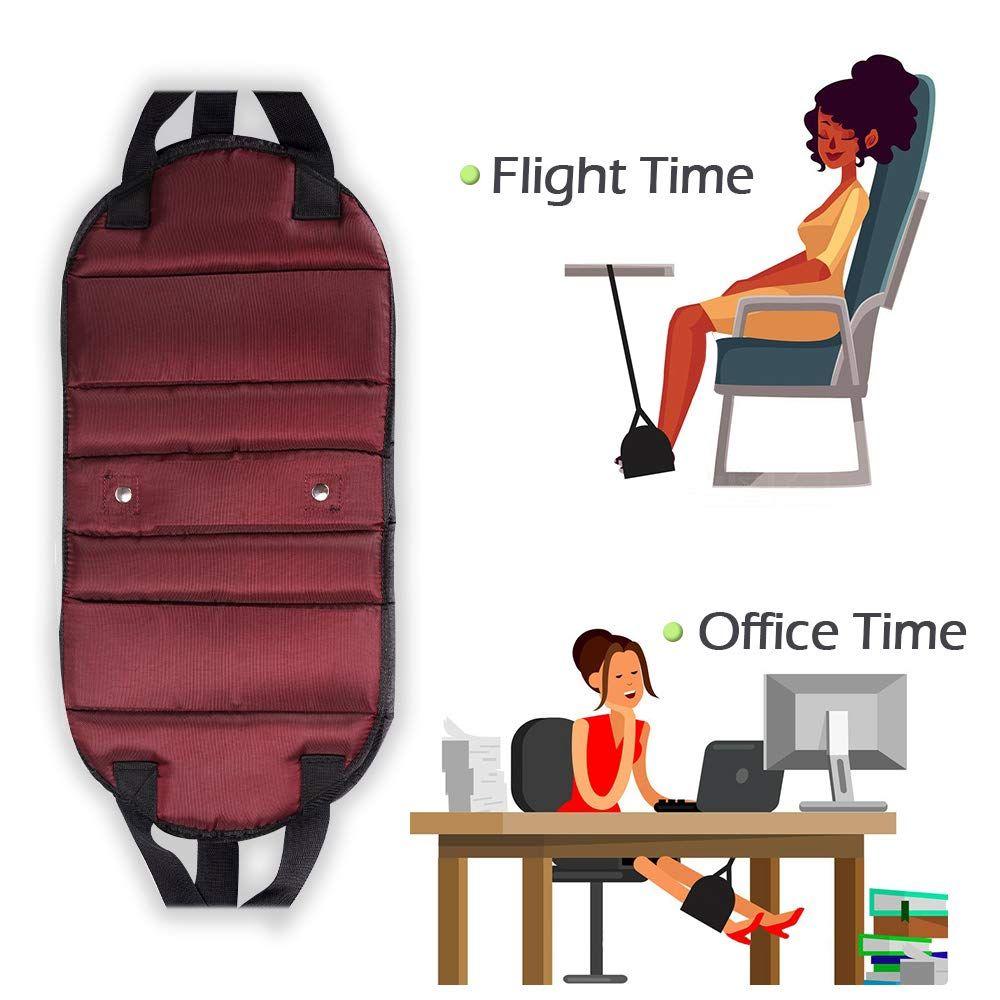 Travel Foot Rest Office Footrest with Separated Design Adjustable Straps Black Ultra-Thick Airplane Travel Accessories SHINE Airplane Footrest Foot Hammock B Foot Hanger for Flight