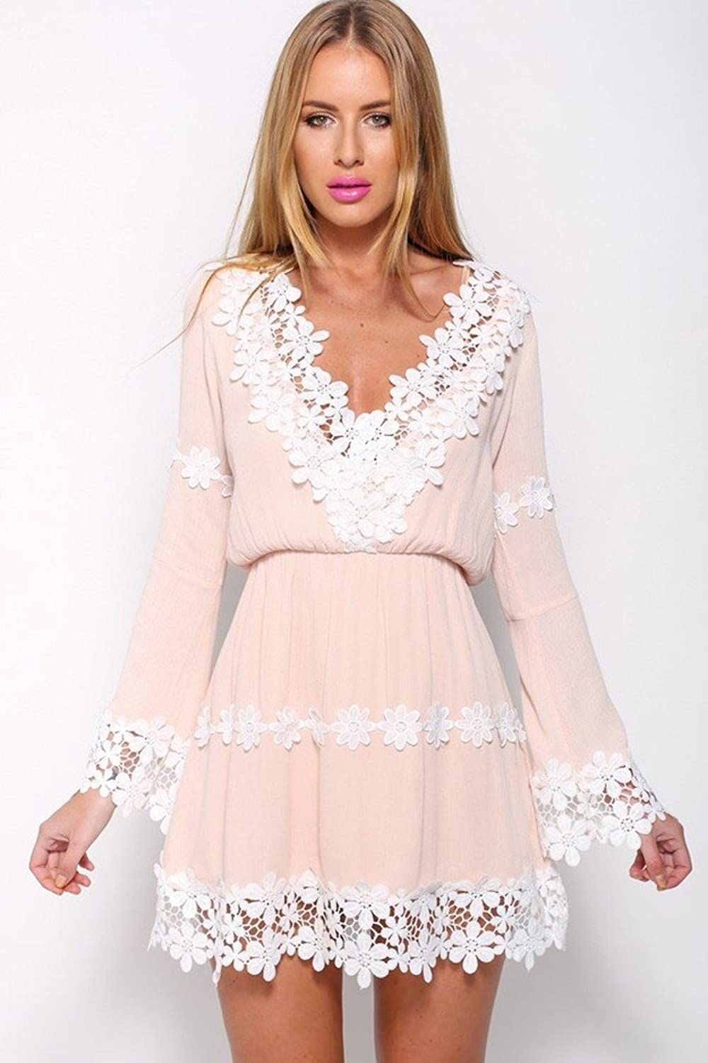 Pink Women Lady Summer Sexy Vestidos V-neck Lace Ruffles Floral Dresses Party women Mini Dress at Amazon Womens Clothing store: