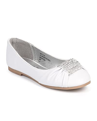 d49fb76a9cbf Leatherette Round Toe Rhinestone Brooch Ballerina Flat (Toddler Little Girl Big  Girl)