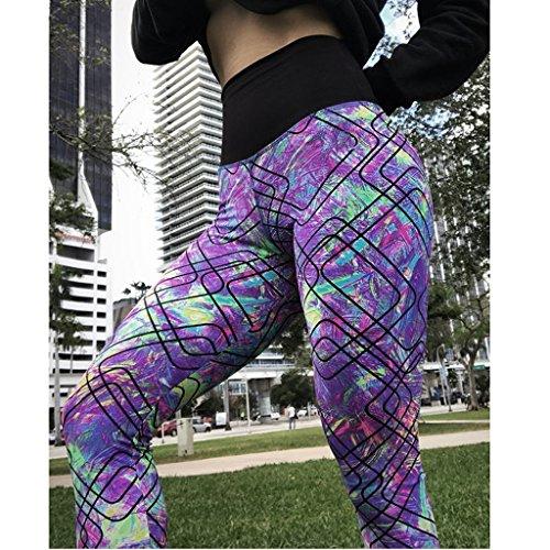Impresos Deportivos Multicolor Delgado Mujeres Magideal Capris Geométricos Empalmados Yoga Pantalones wnxfpFqI