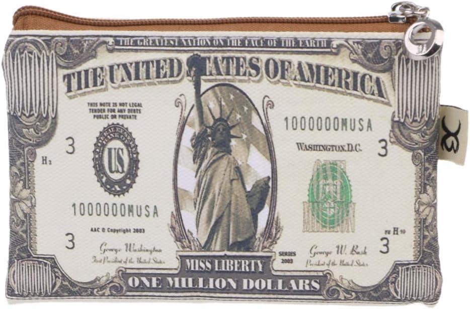 A0127 Portefeuille Porte Monnaie Mini Portefeuille Sac de Rangement Zipper Money Sac /à cl/és Sac /à Main Dr/ôle dargent Sac de Toile Nouveau Dollar am/éricain 100