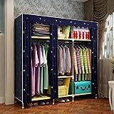 GL&G Portable Clothes Closet Non-woven Fabric Wardrobe Double Rod Storage Organizer Bedroom Wardrobes Clothing & Wardrobe Storage Foldable Closets,blue,70''59''