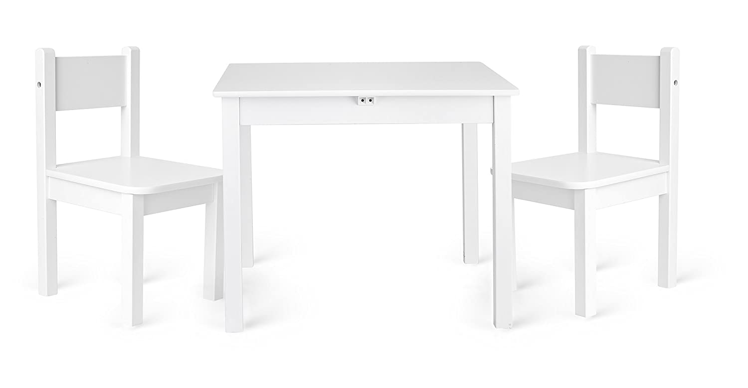 Children's Kids Toy Wooden Table and 2 Chairs Set by Leomark High Quality White Color