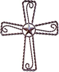 "Metal Cross Wall Décor – Rustic Iron Home Art Decorations, Large Texas Country Western Scroll Barn Star Decoration for Living Room or Outdoor, Vintage Hanging Crosses and Stars (Brown, 15""x12.5"" (SM))"
