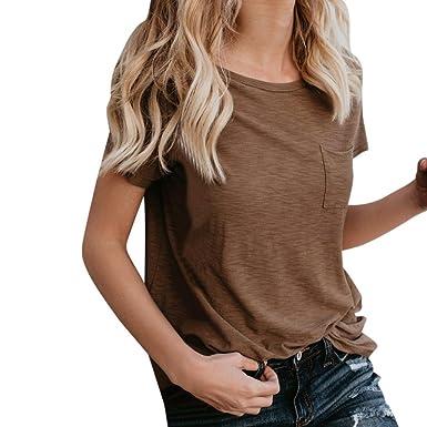BakeLIN Damen Klassisch Reine Farbe T Shirt Frau Taschen O Ausschnitt  Kurzarm Tops Bluse Oberteil ( 2706f8d4a4