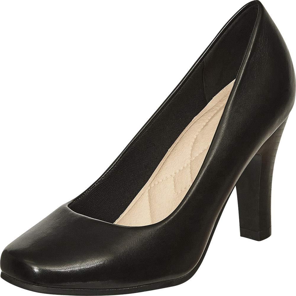 Black Pu Cambridge Select Women's Classic Square Toe Padded Comfort Tapered High Heel Pump
