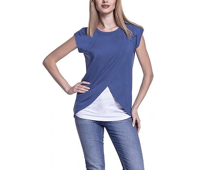 Camisetas Mamá Mujer Ropa Premamá Lactancia Verano T-Shirt De Doble Capa Maternidad Tops Joven
