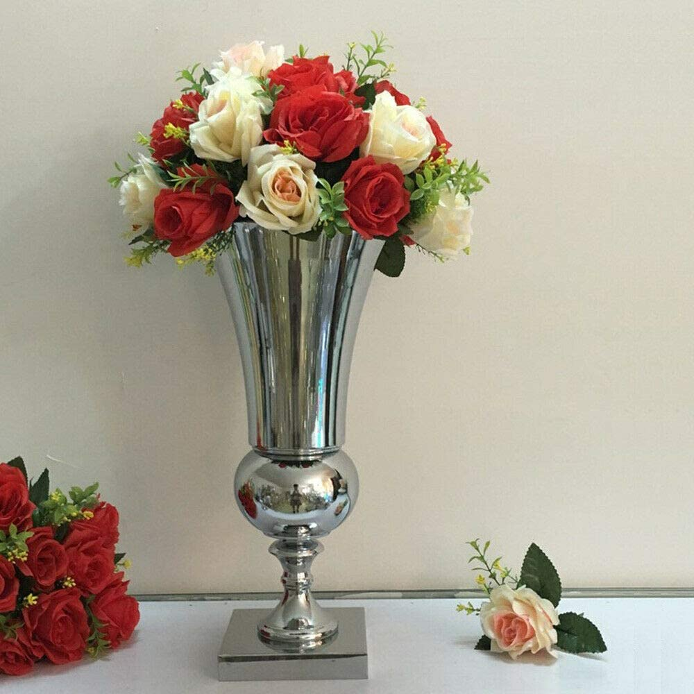Silver plate large vase Urn wedding table flower party home high quality 50CM