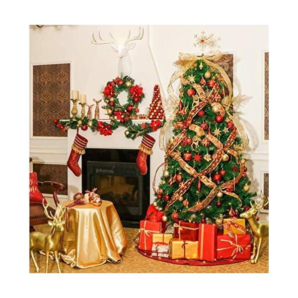 Valery Madelyn Palle di Natale 24 Pezzi 7cm Palline di Natale, Ornamenti di Palla di Natale Infrangibili di Lusso Rosso e Oro per la Decorazione Dell'Albero di Natale 7 spesavip