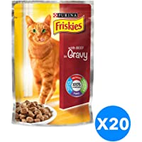 Purina Friskies with Beef in Gravy Cat Food Single Serve Pouch 100g (20 Pouches)