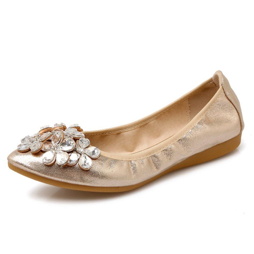 Meeshine Womens Foldable Soft Pointed Toe Ballet Flats Rhinestone Comfort Slip on Flat Shoes(7 B(M) US,Gold)