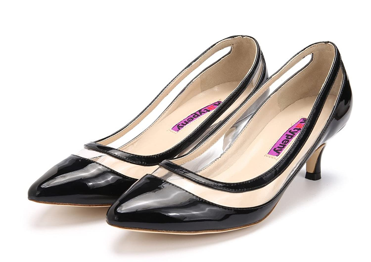 Katypeny Womens Elegant Pure Color Shallow Mouth Slip On Pointed Toe Kitten  Heel Pump Shoes: Amazon.co.uk: Shoes & Bags