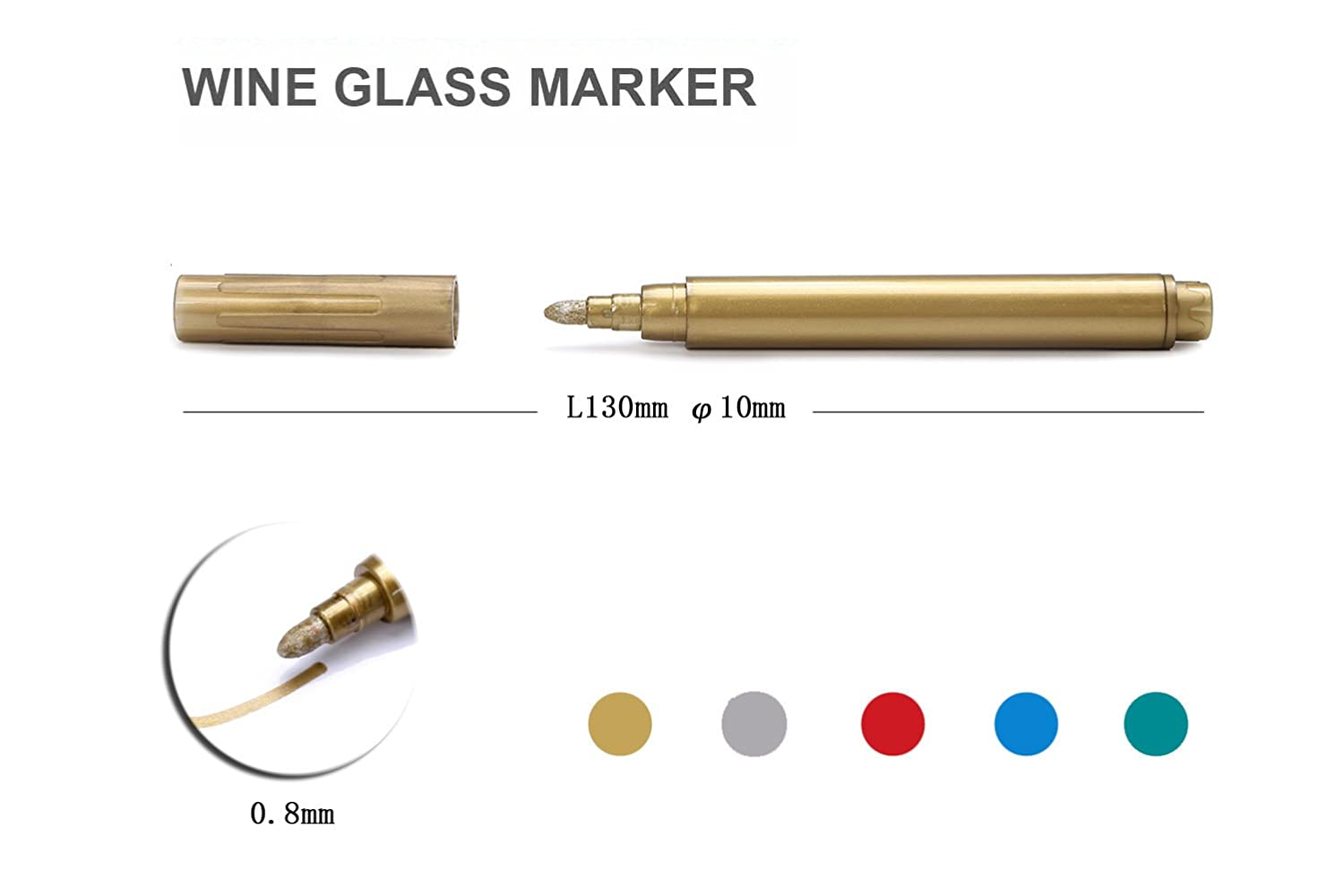 TIENO Wine Glass Marker Metallic Pen Set 0.8 mm Round Tip Creativity Writing on Glass Mirror Ceramics and Etc 5 Packs of Vibrant Colors with Portable Pouch Window Jar Bottle