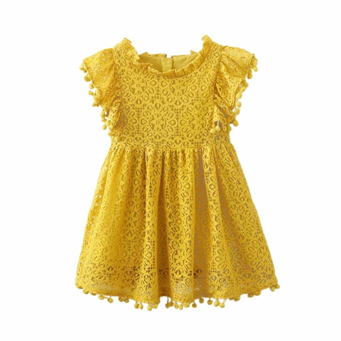12M-6T Kids Baby Girls Cotton Cute Floral Print Lace Fly Sleeve O-Collar Princess Hollow Dresses Clothes (Yellow, 5T) by Aritone - Baby Dress