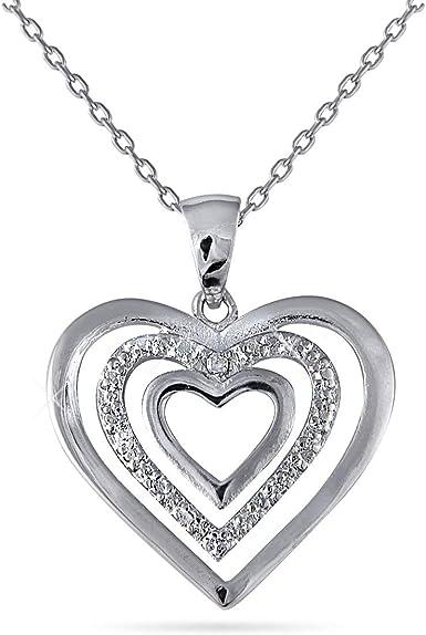 Sterling Silver Rhodium Plated Diamond Pendant