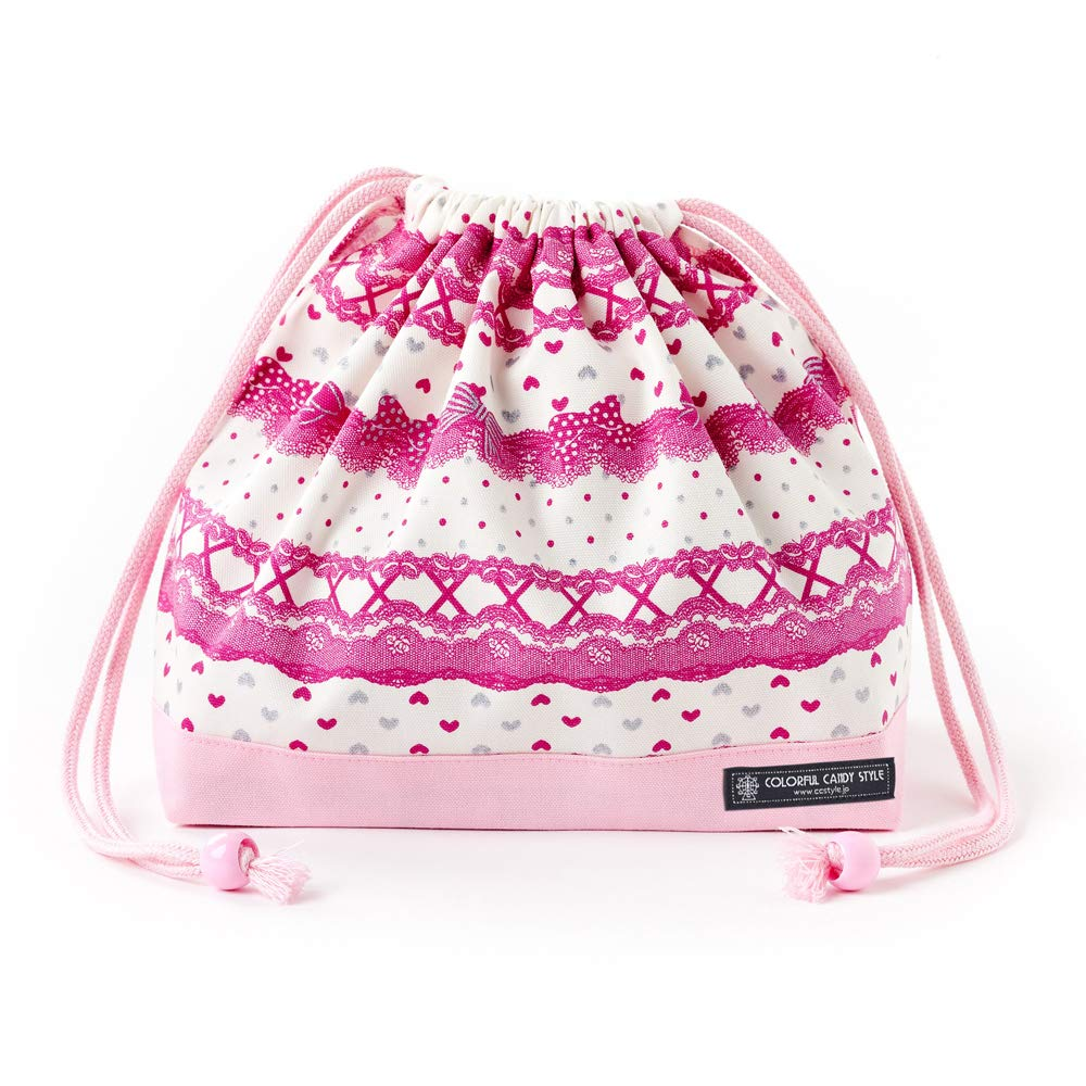 Drawstring Gokigen lunch in the race and and race patterns (medium size) with gusset lunch bag ribbon Pretty cute (Blanco) x Ox Rosa made in Japan N3460400 (japan import) 104e0f