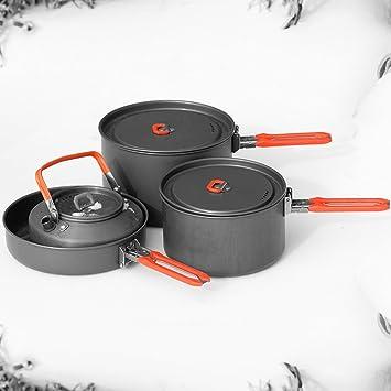 Fiesta de 4 ollas al aire libre para acampar 4-5 personas ollas de cocina plegables portátiles para cocinar con olla de 0.8L: Amazon.es: Hogar