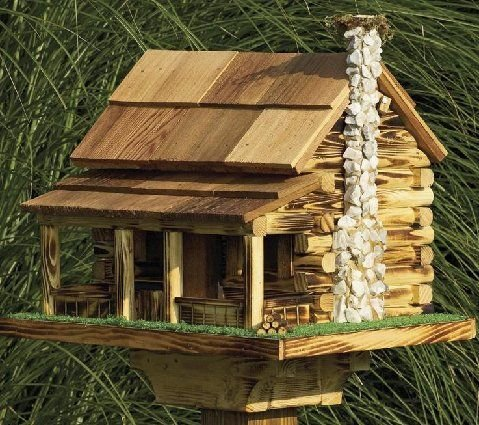 Amish Country Rustic Handmade Log Cabin Bird Feeder with Rock Chimney, Base 20 Wide X 14 Deep X 18 to Top of Chimney. Easy to Fill and Maintain. Th…
