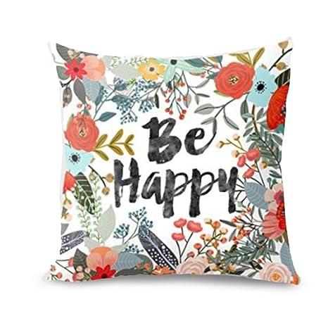 Amlaiworld_Fundas Fundas Fundas de cojínes, Be Happy rodeado Flores Plantas impresión Funda Cojines Funda de Almohada Decorativa Casera Funda de Cojín ...