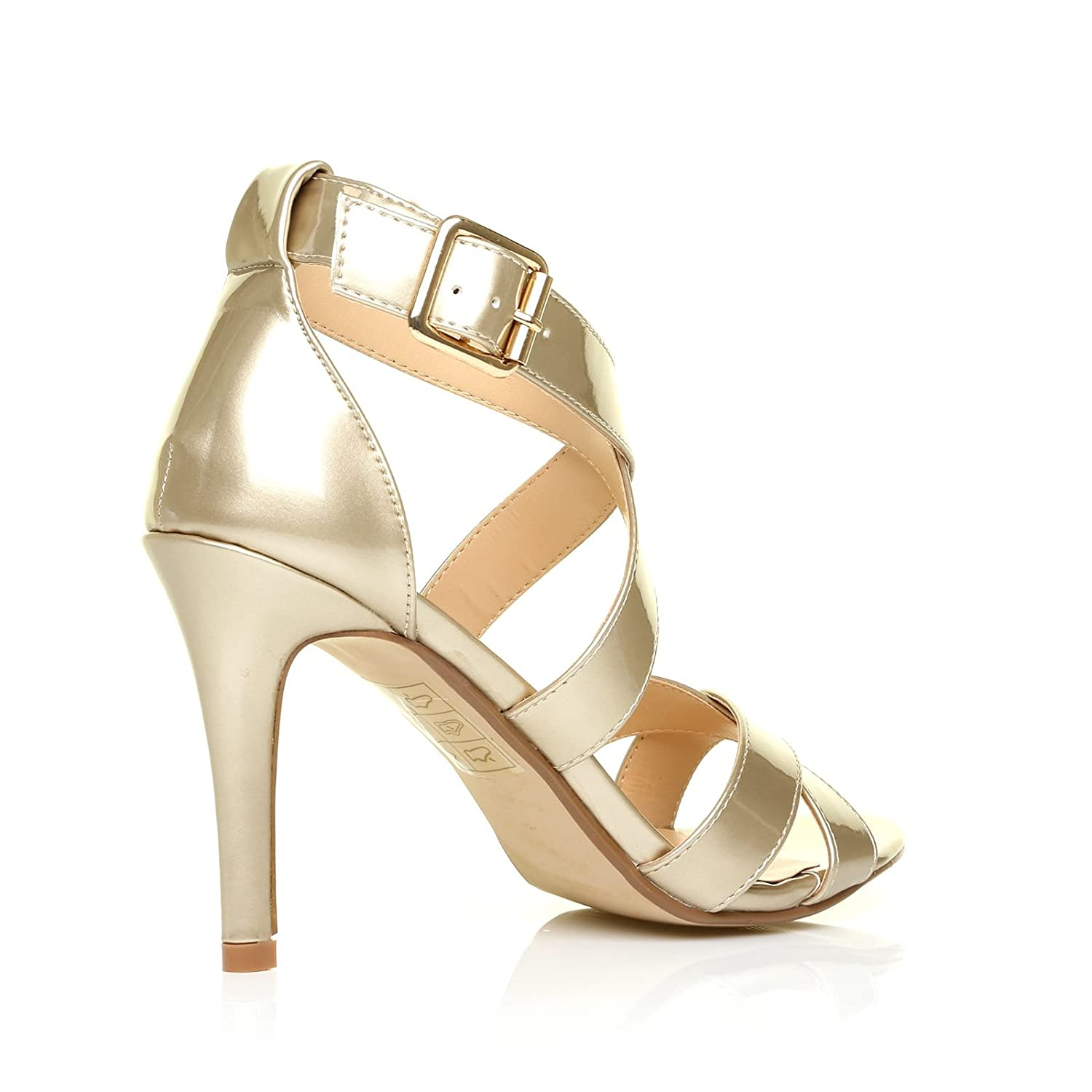 2db527d4543 ShuWish UK Sophie Champagne Gold Metallic Strappy High Heel Sandals   Amazon.co.uk  Shoes   Bags