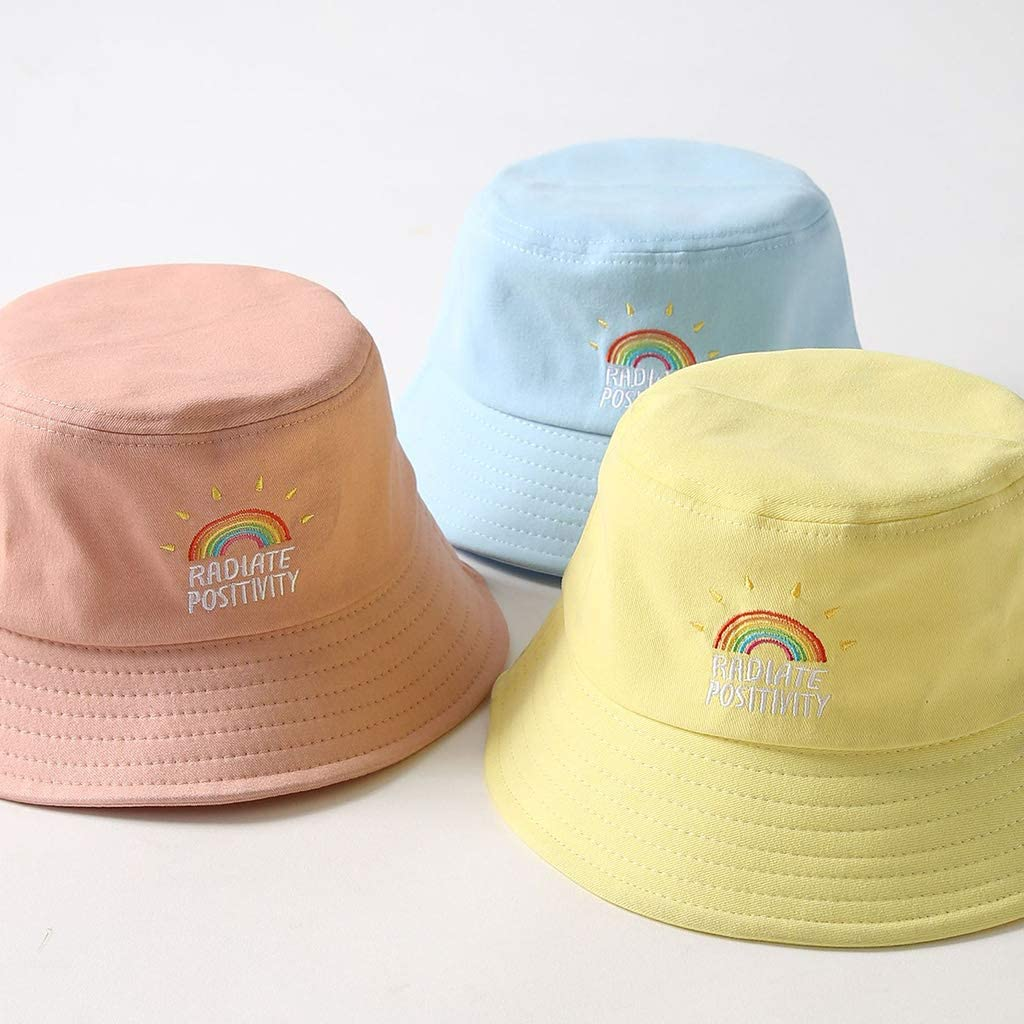 ZOOMY Women Girl Preppy Style Flat Top Bucket Hat Rainbow Letters Embroidery Candy Color Harajuku Cool Student Summer Cap Pink