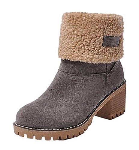 41f8649acf75b Botas Mujer Invierno Tacon Forrado Calentar Botas Altas Botines Moda Casual  Outdoor Zapatos de Nieve Snow Boots 6 cm Negro Naranja Caqui 35-43   Amazon.es  ...