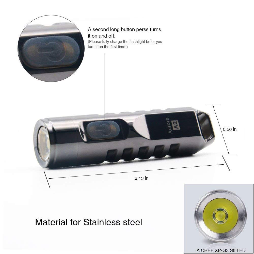 RovyVon Silver 550 Lumens CREE XP-G3 S5LED Mini Keychain Rechargeable Flashlight With Built-In 130mAh Polymer Li-ion Battery Model A2