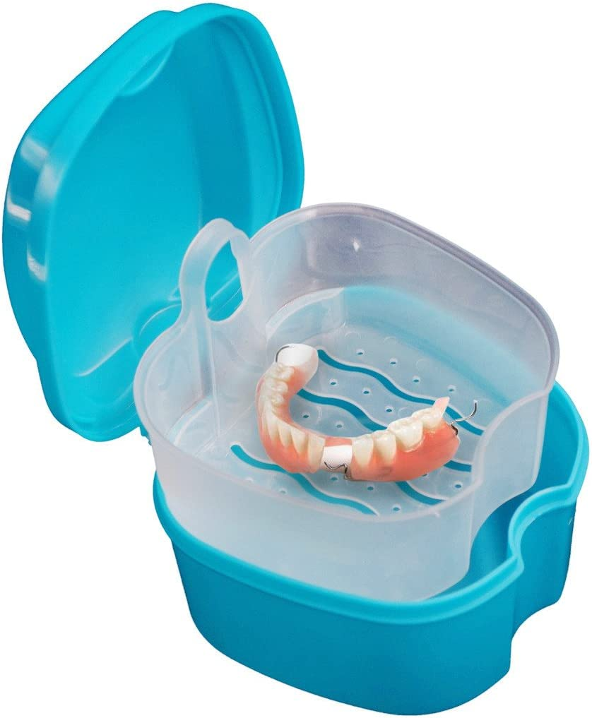 Assorted 3 colors Transser Denture Bath Box Case Dental False Teeth Storage Box with Basket Net Container Holder for Travel Denture Case Retainer Cleaning Denture Cup with Strainer