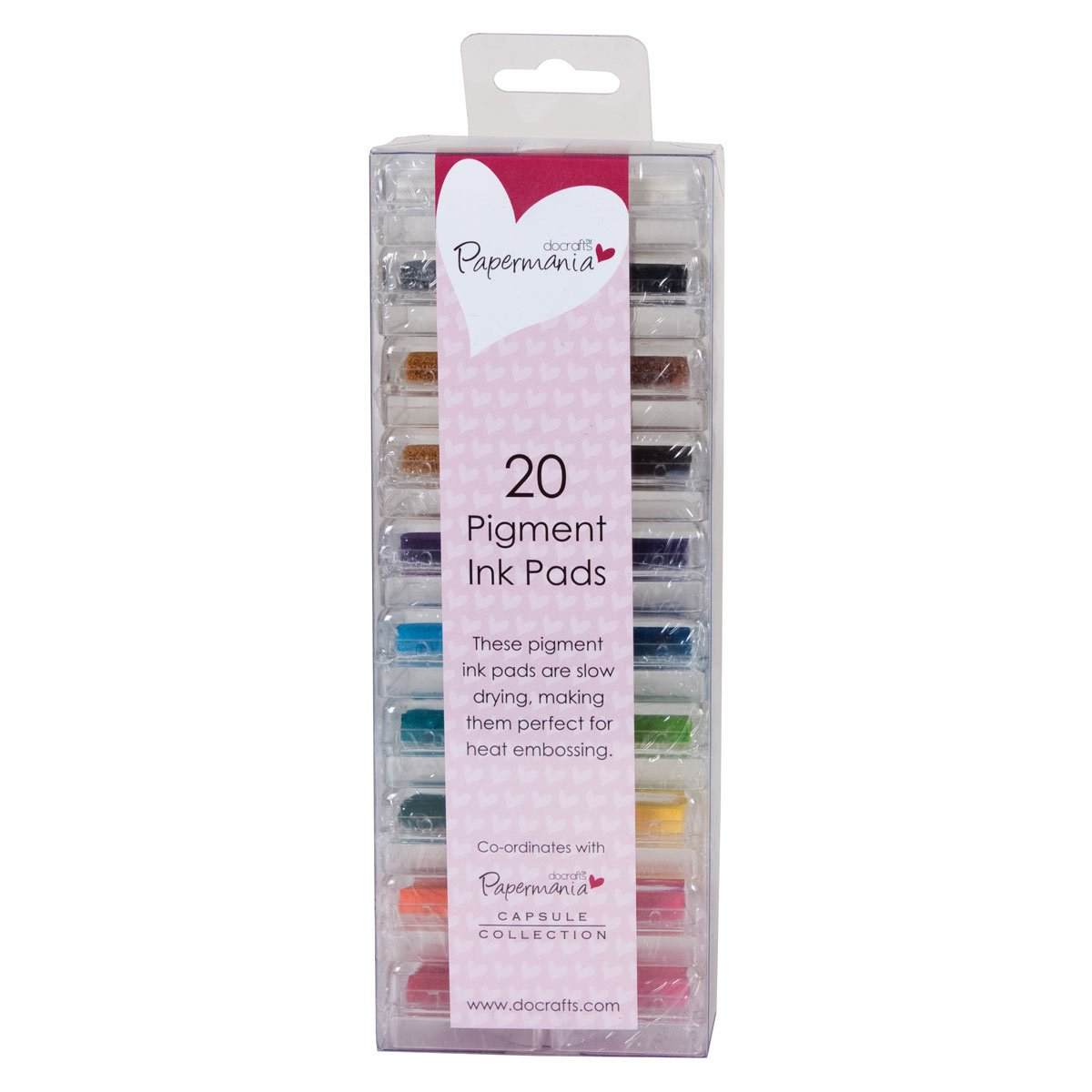 Papermania Pigment Based Mini Ink Pad, Pack of 20, Assorted Colours Docrafts PMA 5521100