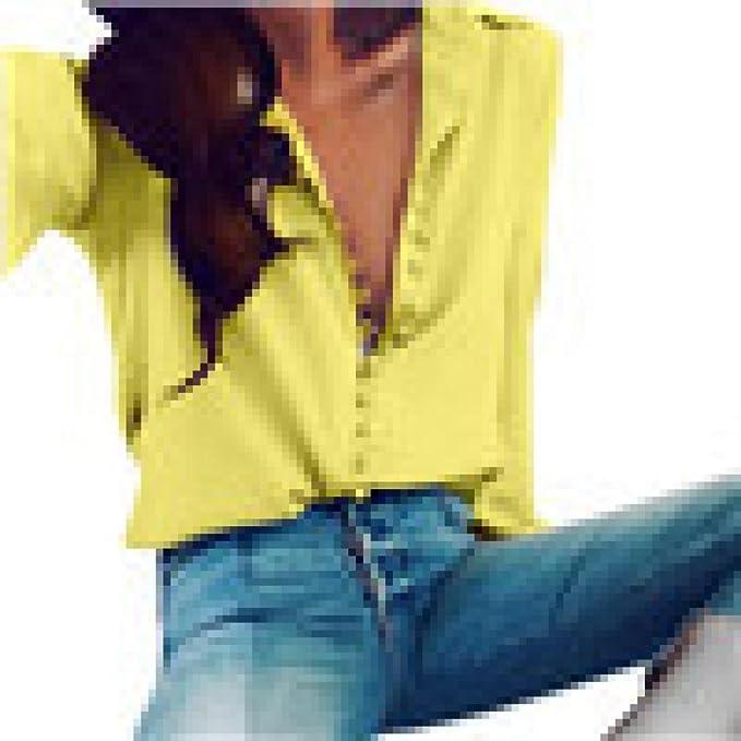 PANY Mujer Casual Mangas largas sólidas Blusa Solapa Camiseta Camisas Mujer Tops Blusas de Top Camisa Blanca Traje Encaje Lencero Blanco Negro y Elegantes ...