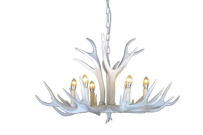 amazon com effortinc vintage style resin white antler chandelier 6
